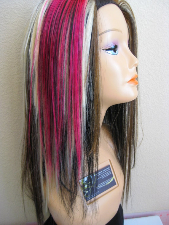 HOT PINK and BLACK hair extensions 2 inch wide 14 inch long