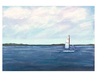 Original Seascape Painting, Sailboat, Water, Smooth Sailing, Nautical, Original Painting, Pastel, Original Art, Small, Reduced Price