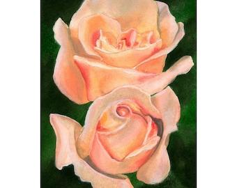 Flower Painting, Original Watercolor Painting, Twin Roses, Rose, Fine Art, Realism, Original Art, Flowers, Landscape