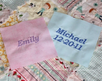 Personalized Embroidery, Add On, Custom Quilt, Blanket, Name, Date, Personalized