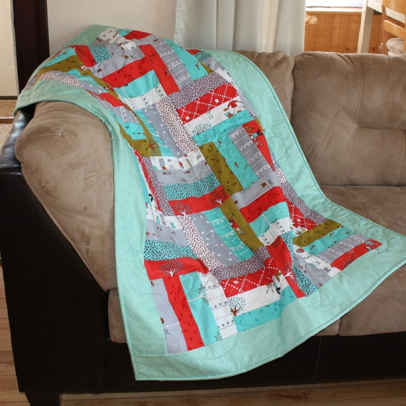 Gender Neutral Toddler Quilt, Baby Quilt, Blanket, Little Apples, Moda, Girl, Boy, Modern