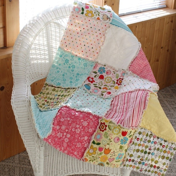 Sunny Happy Skies Baby Rag Quilt / Childs Rag Quilt