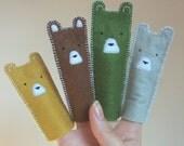 set of 4 bears felt finger puppets