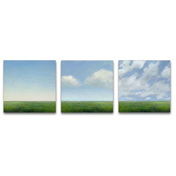 Original Oil Paintings Custom 3 Piece MODERN ABSTRACT SKY CLOUD FIELD LANDSCAPE ART by J Shears