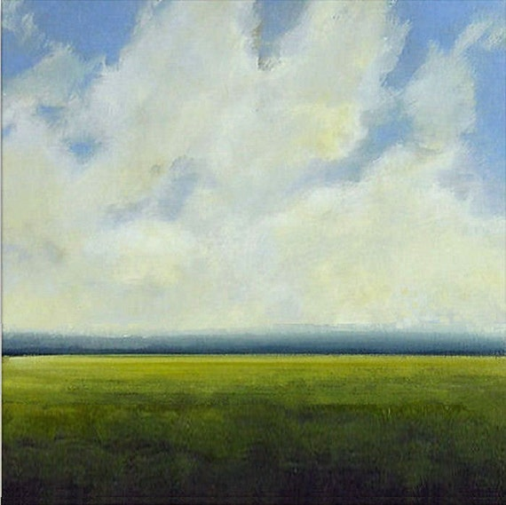 Landscape Painting CUSTOM Modern Abstract Sky Cloud Field  Art by J Shears