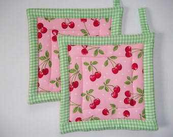 Cherry Pot Holders~Pot Holders~Pink & Green Gingham~Farm House Kitchen~Fruit Pot Holders
