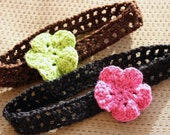 2 Headbands and 2 Interchangable Crochet Flower Barrettes - Choose your sizes and colors - Buy 2 of each and SAVE