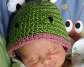 Crochet Froggy Frog Beanie Cap Hat - available in sizes Newborn and up