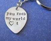 custom guitar pick key chain in sterling silver
