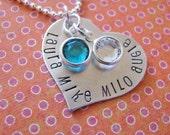 custom silver family heart necklace