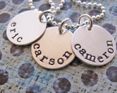 custom mini name necklace - hand stamped silver