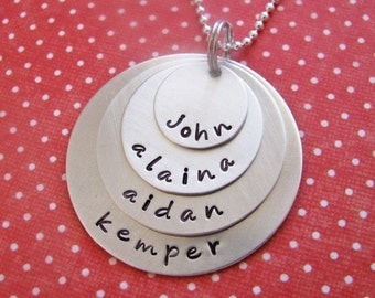 custom four layers of silver necklace - personalize with your choice of names