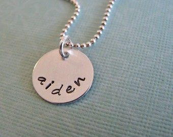 custom mini name necklace - hand stamped sterling silver