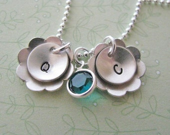 custom double flower initial necklace - hand stamped silver