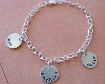 custom charm bracelet - personalize with hand stamped silver charms