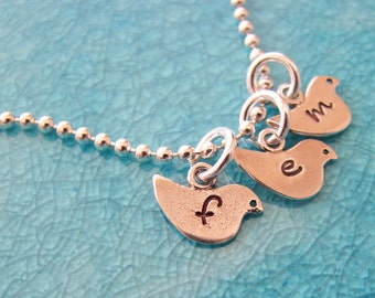 tiny birds necklace - personalize with initials