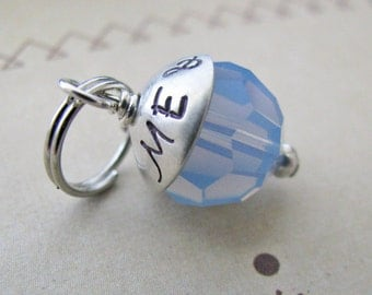 something blue bouquet charm - with personalized bead cap
