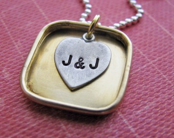 mixed metal shadow box necklace  - personalize with initials - great wedding or anniversary gift