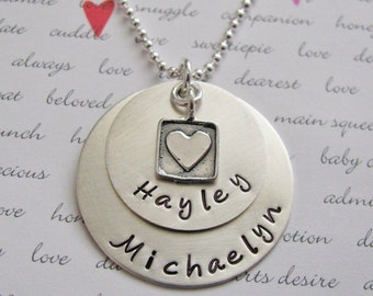 custom double layer name necklace with square heart charm