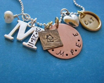 custom happy home family charm necklace