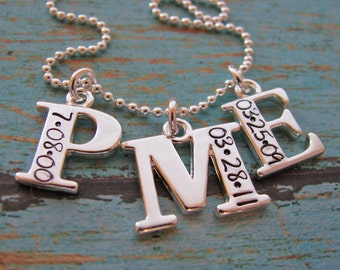 personalized triple initial necklace - customized with dates
