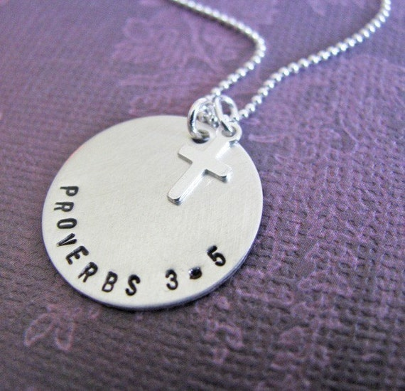 hand stamped silver custom Bible verse necklace with sterling cross charm - personalize with your favorite verse