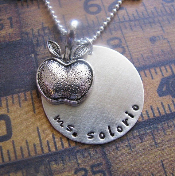 NEW - custom hand stamped silver teacher necklace - personalize with teacher's name
