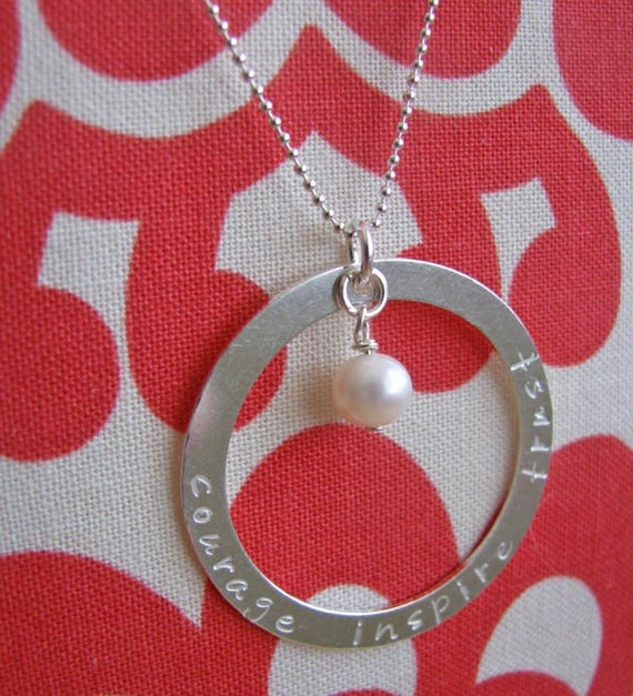 hand stamped silver custom circle washer necklace with dangle birthstone or pearl - personalize with names, words, quote
