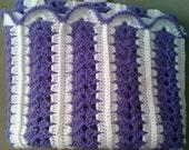 Crochet Baby blanket lavendar/purple/white Girl Afghan