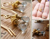 Delicate Sky Blue Topaz Gold Earrings - Great bridesmaids gift or birthday gift - Set of two (2)