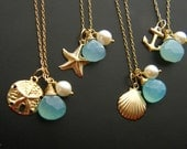 GOLD FILLED Bridesmaid Gift Set of FIVE Nautical Necklaces Keepsake - 14k gold fill - Beach Wedding Jewelry