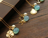 Nautical Necklace Keepsake - 14k gold fill - Beach Wedding Jewelry