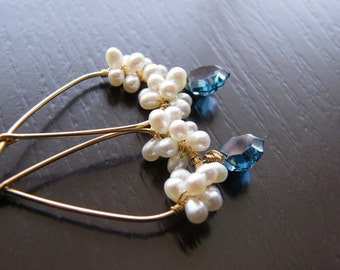 White Pearls Blue Topaz Gold Filled Earrings - Lenia Limited Edition Earrings