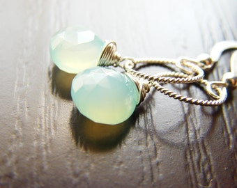 Sea blue Chalcedony and Sterling Silver Earrings - Alexa Limited Edition Earrings