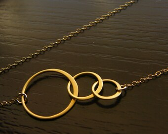 Crescent Necklace - 24K Gold Vermeil with Satin Finish and Gold Filled Chain Necklace