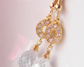 Crystal quartz and gold filled earrings - Dionys One of a Kind Earrings Spring Wedding Collection