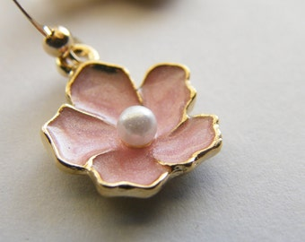 Pastel Pink Sakura Flower and Gold Filled - Rita Limited Edition Earrings
