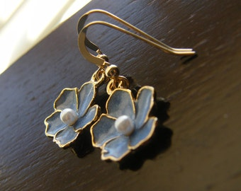 Pastel Blue Baby Blue Sakura Flower and Gold Filled - Rita Limited Edition Earrings