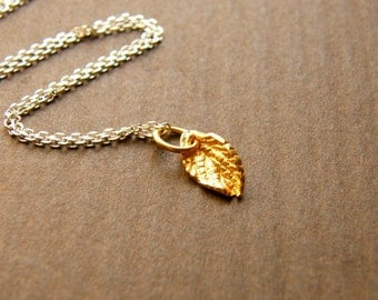 Dainty Vermeil Leaf Charm Silver Necklace- Limited Edition Necklace