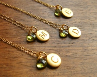 Personalized Initial Pendant Disc with Gemstone Gold Filled Necklaces - Bridesmaids Gift - Set of six (6)