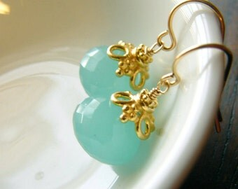 Sea Blue Chalcedony and Gold Filled Earrings, Elegant bridesmaids gift, beach wedding, aqua blue
