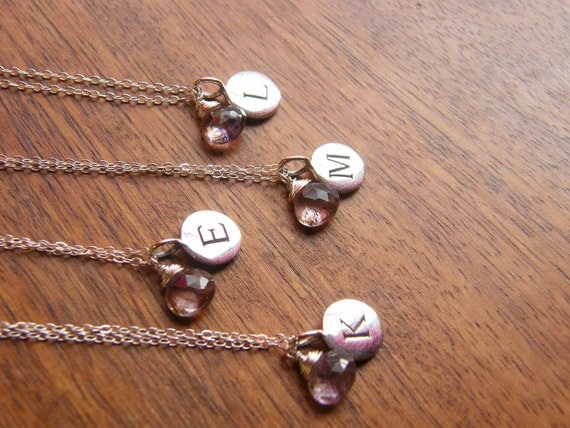 Bridesmaids Gift - Personalized Initial Pendant Disc with Gemstone - Sterling Silver Necklace