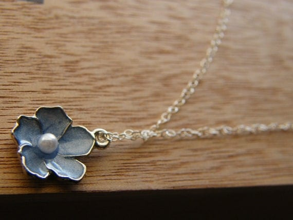 Baby Blue, Pastel Blue Sakura Flower and Sterling Silver Necklace - Rita Limited Edition Necklace