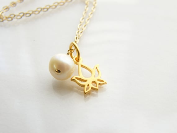 Bridesmaids Gift  Lotus Vermeil Charm with White Pearl Gold Filled Necklace
