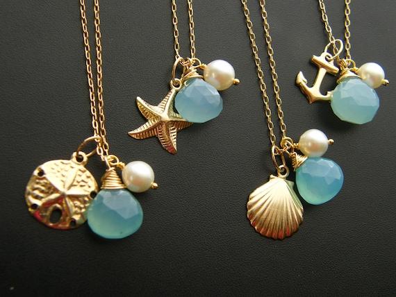 Bridesmaid GIFT SET of FOUR Nautical Necklaces Keepsake - 14k gold fill - Beach Wedding Jewelry