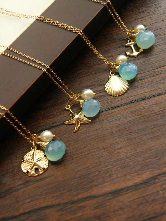GOLD FILLED Bridesmaid Nautical Necklaces , Keepsake - 14k gold fill - Beach Wedding Jewelry