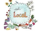 Eat Local - Farmer's Market Art Print