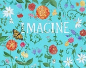 Imagine - Art Print - inspiration, blue, floral, text