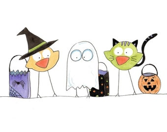 Trick-or-Treat Peeps - Halloween Art Print birds decoration holiday