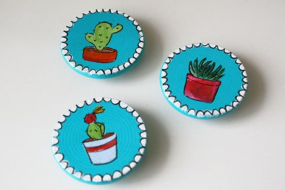 Cacti Magnets - Handpainted Art